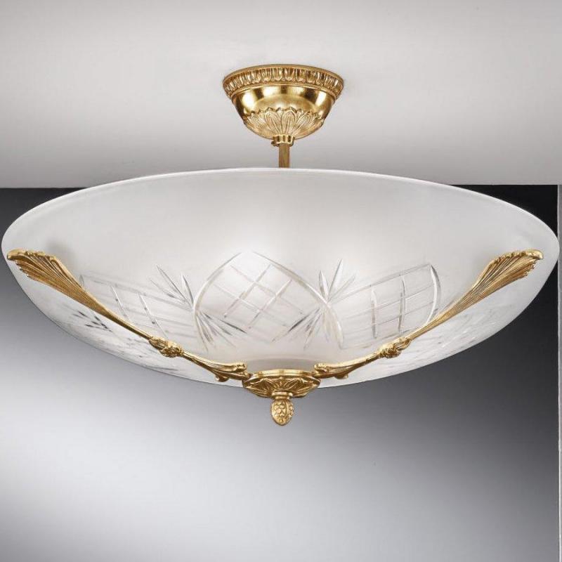 Светильник потолочный, чаша матовое стекло, бронза, Италия