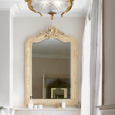 Светильник потолочный, матовое стекло, бронза, Италия