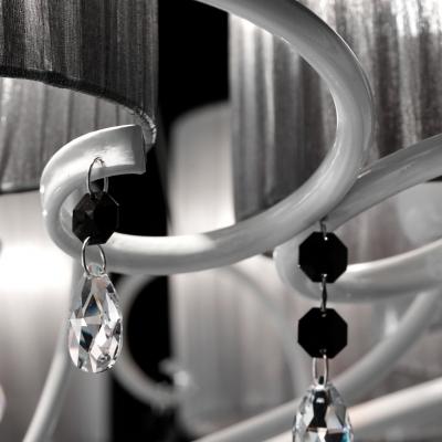 Люстра потолочная с абажурами, дизайнерская, серебро, хрусталь