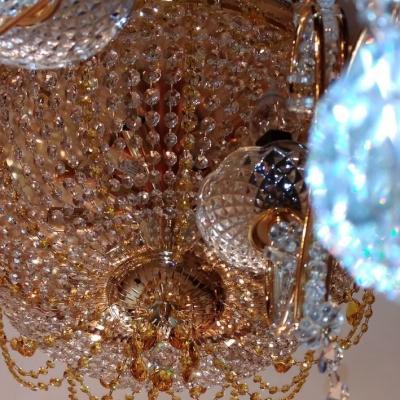 Потолочная хрустальная люстра в классическом стиле, золото